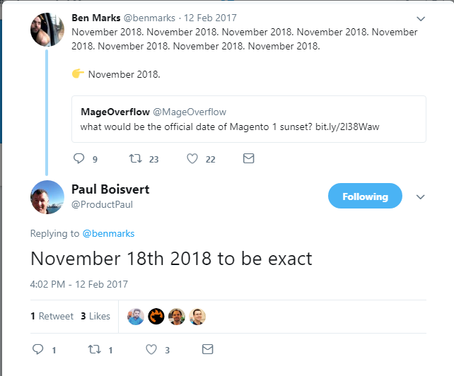 Magento 1 end of life twitter conversation